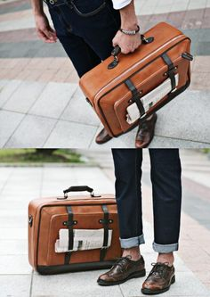 Classic Leather Brown Suit Case