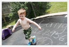 Great summer activity - draw on your dry trampoline with chalk! Courtesy of Mindy @ Mooney=MC2