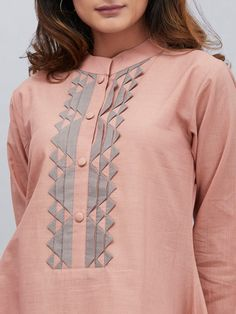 Pink Cotton Mulmul Asymmetric French Kurta with Palazzo - Set of dress party fashion style for 201926 trendy dress casual with sleeves outfit Salwar Neck Designs, Neck Designs For Suits, Kurta Neck Design, Sleeves Designs For Dresses, Neckline Designs, Dress Neck Designs, Stylish Dress Designs, Kurta Designs Women, Sleeve Designs