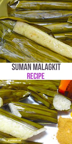 Suman sa Malagkit once served can either be eaten on its own or will need a dip. The choice can range from simple white washed or brown sugar melted chocolate (for some) and caramelized brown sugar. Philipinische Desserts, Asian Desserts, Asian Recipes, Dessert Recipes, Rice Cake Recipes, Rice Cakes, Filipino Dishes, Filipino Desserts, Filipino Food
