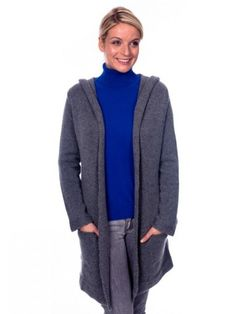 100% Cashmere Shawl Collar Hooded Jacket