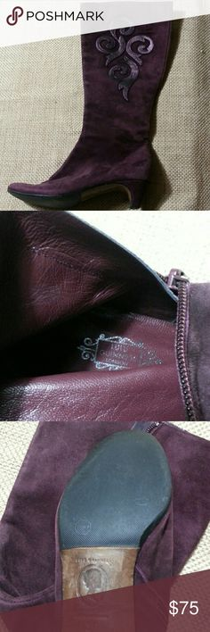 LULU GUINNESS Suede Boots- SZ 6 LULU GUINNESS plum suede boots. Features leather scroll applique on outer calf. Kitten heels. Inner side zip closure.  Heels and soles were reinforced by a professional shoe care expert to prevent wear. Boots fall just below the knee. Excellent to good used condition NO BOX or DUSTBAG  FEEL FREE TO MAKE AN OFFER!   I work in L.A as a wardrobe stylist for film and television. All my items are authentic and come from high end boutiques or stores. PLEASE ONLY…