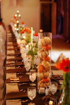 Thanksgiving Table setting. Slender glass vases filled with mini pumpkins.