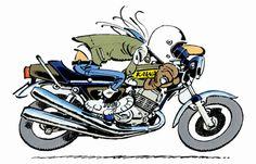 JoeBar Source by mixailkapetanios Classic Cartoon Characters, Classic Cartoons, Harley Davidson, Joes Bar, Motorcycle Humor, Bike Art, Mini Bike, Cool Bikes, Comic Strips