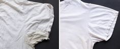 Keep that white tee shinin' bright. How To Remove Sweat Stains From Your Favorite Shirt House Cleaning Tips, Cleaning Hacks, Remove Sweat Stains, Pit Stains, Cleaning Painted Walls, Glass Cooktop, All Purpose Cleaners, Cleaners Homemade, Simple Life Hacks