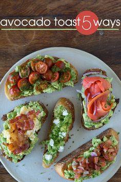 Avocado Toast 5 Ways: Cherry Tomatoes, Smoked Salmon, Bacon, Goat Cheese, Pico De Gallo