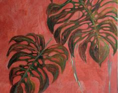 Cette grande peinture représente un feuillage sur un fond rouge ,texturé Elle est réalisée à la gouache tempera , des pigments et est rehaussée au pastel , sur une toile Elle mesure 80 cm x 180 cm , ce qui est la taille d'une porte Elle est signée au dos estampillée A.A.F ( Ateliers d'arts de France )