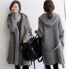 Korean Women's Knit Sweater Long Coats With Suede Thickened Cardigan Jacket  | eBay Womens Knit Sweater, Long Coats, Vest Outfits, Long Sweaters, Vests, Vest Jacket, Ebay Clothing, Turtle Neck, Korean