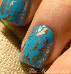 gold blue swirl nail polish design for Indian wedding