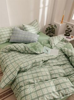 Mint Green Grid Duvet Cover Set Cotton Comforter Cover Check Home Bedding Sets Duvet Cover S. – cozy home warm Room Ideas Bedroom, Bedroom Inspo, Bedroom Decor, Bedroom Bed, Bedroom Night, Green Rooms, Bedroom Green, Mint Green Bedding, Green Comforter