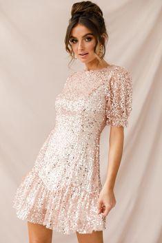 93ba70b26e Shop the Shine On Sequin Overlay Puff Sleeve Dress Gold