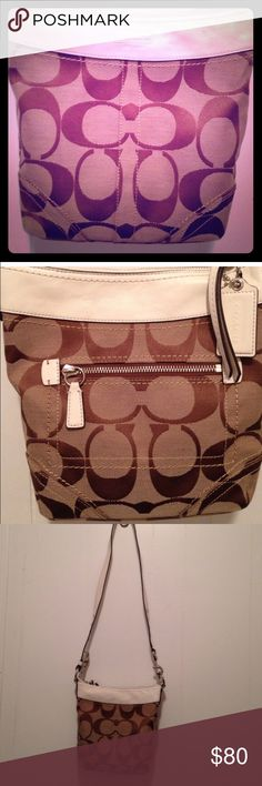 Coach Soho Duffle Convertible Shoulder Bag Beautiful Coach Bag in amazing condition. • Signature Fabric • 10 in x 10 in x 2 in • 22 in Adjustable strap with 11 in drop • Silver Tone Hardware • Fabric Lining • Exterior - 1 Zip Pocket • Interior - 1 Zip Pocket - Phone Pocket - Slip Pocket Coach Bags Crossbody Bags