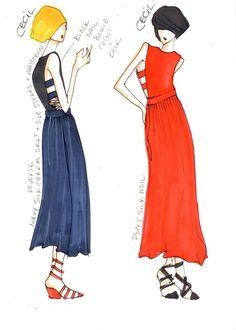 fashion illustration  Cecil Maxi Dress  Image Via: TENOVERSIX