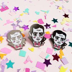 Dracula - Vampire - Kawaii Classic Monster Glitter Hard Enamel Pin