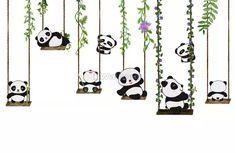 Panda Bears with Swing Wallpaper Mural Home Wall Painting, Creative Wall Painting, Panda Wallpapers, Cute Cartoon Wallpapers, Cute Panda Wallpaper, Kids Wallpaper, Panda Painting, Kids Wall Murals, Cartoon Panda
