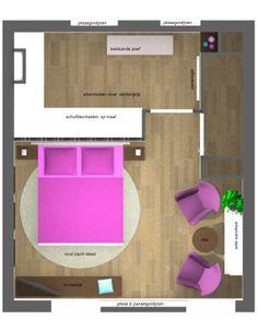 plan zolder/inloopkast Bedroom With Bath, Upstairs Bedroom, Master Room, Attic Bedroom Designs, Attic Rooms, Bedroom Styles, Bed In Closet, Room Closet, Walk In Closet