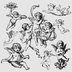 Illustration about Set of various angels or cupids. Illustration of angel, pieces, sketch - 22838734 Neue Tattoos, Body Art Tattoos, Small Tattoos, Cupid Tattoo, Baby Angel Tattoo, Cat Tattoo, Angel Drawing, Cupid Drawing, Angel Tattoo Drawings