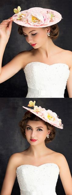 bc6a397d4bc Baby Pink Lace Boater Kentucky Derby hat a perfect headpiece for Kentucky  Derby