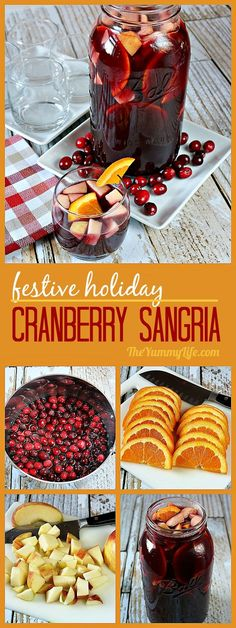 An easy, festive, fruity cocktail-type recipe that is perfect for holiday meals and parties. A delicious, flavorful blend of wine and brandy with cranberries, pomegranates, apples and oranges. Make-ahead convenience, too. #Sangria #Wine #Christmas #Thanksgiving #Cranberries #Pomegranate #Fruity #RedWine #Holiday #MakeAhead #Cocktails