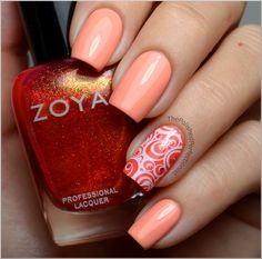 Barry M - Peach Melba with Catrice - I Scream Peach! on accent nails. Stamppedwith Konad plate m65 and  Konad Special Nail Polish in White. A couple of dots with sparkly Rica from Zoya