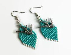 Turquoise Beaded Dangle Earrings Dove Charm Gifts by CallunaMuse, $18.00