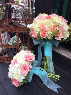 Bouquets for Lisa - roses, Hydrangeas and Callas