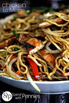 This easy Chicken Lo Mein recipe is full of flavor. Fresh egg noodles, delicious hoisin grilled chicken and tons of tender crisp veggies all tossed in a delicious homemade lo mein sauce! Great Recipes, Dinner Recipes, Favorite Recipes, Asian Recipes, Healthy Recipes, Ethnic Recipes, Lo Mien Recipes, Asian Foods, Pasta Dishes