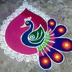Beautiful and Easy Indian Peacock Rangoli Designs - Indian Fashion Ideas Simple Rangoli Border Designs, Easy Rangoli Designs Diwali, Rangoli Designs Flower, Free Hand Rangoli Design, Small Rangoli Design, Colorful Rangoli Designs, Rangoli Ideas, Rangoli Designs Images, Flower Rangoli