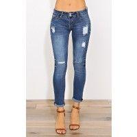 Distressed Rolled Cuff Skinny Jeans - Denim - Shop