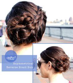 asymmetrical reverse braid bun #hair #bun #braid