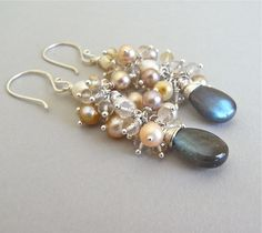 Earrings - scapolite, golden rutile quartz, freshwater pearl, labradorite and sterling silver - Moonlit. $119.00, via Etsy.
