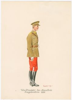 Cavalry sergeant in walking-out dress - 1936 Army & Navy, Military Art, Walking, Dress, Fictional Characters, Collection, Badges, England, Soldiers