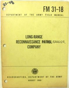 Military Book -Long-Range Reconnaissance Ranger Company - Aug1968 - Paperback