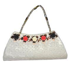 Beautiful White Sequence Velvet Clutch Colorful Metal Flower&Smart Beads Handle #ArishaKreationCo