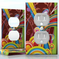 DIY Do It Yourself Home Decor - Easy to apply wall plate wraps | Hippie Flashback Colors  Colorful curves  wallplate skin sticker for 1 Gang Wall Socket Duplex Receptacle | On SALE now only $3.95