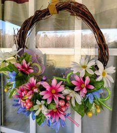 Spring Wreath, Door Wreath, Spring Floral Grapevine Wreath, Spring Summer Wreath