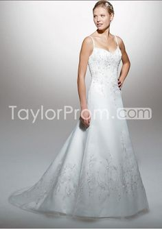 Pretty A-Line/Princess Spaghetti Straps Chapel Train Organza Wedding Dress (WDA1575)