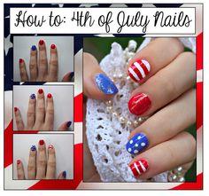 Fourth Of July Nails (no nail art tools required!)