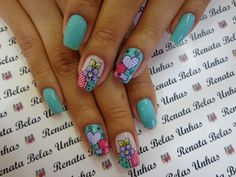21 Modelos de Unhas com Flores How To Do Nails, Fun Nails, Pretty Nails, Nail Designs Spring, Nail Art Designs, Plain Nails, Wonderful Pistachios, Air Popped Popcorn, Paws And Claws