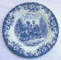 Blue and White Toile Transferware Plate Dogs Horse Horses Stagecoach R