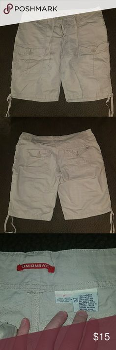 """Unionbay khaki shorts size 11 Unionbay size 11 light tan shorts.  They have a drawstring around the waist as well as small drawstrings around the cuff of the shorts. I usually just lightly tied it for decoration and did not pull them tight. Laying flat 17"""" width; Length 19"""" x 10.5"""" inseam. Gently worn, no holes or stains. UNIONBAY Shorts"""