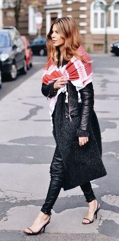 Leather Jacket: SET . Shirt: Vintage . Wool Coat: Closed . Leather Pants: H&M . Shoes: Zara  Scarf: Vintage