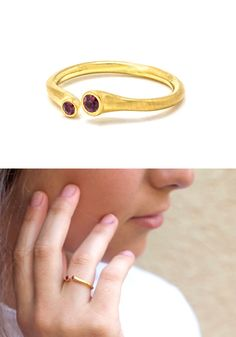 Engagement Ring - ruby and gold ring - dainty gold ring - bezel engagement ring - gift for her - unique wedding ring