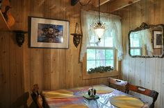Dining room of Bohemian cabin.