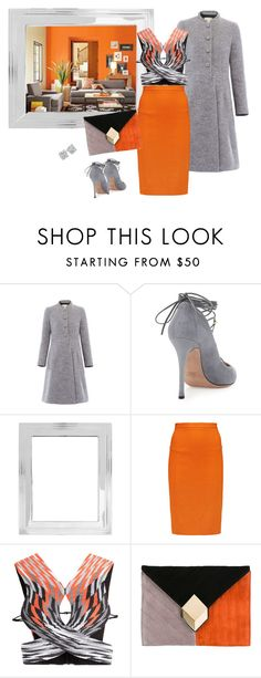 """""""Orange and grey"""" by bv-b ❤ liked on Polyvore featuring Valentino, Pottery Barn, Roland Mouret, Alexander Wang and Pierre Hardy"""