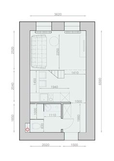 Studio floorplan. Bed is a pull down Murphy bed opening up the ...