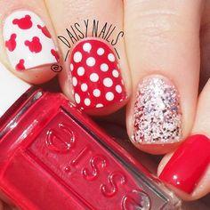 Disney Nails - Red and White Disney Nail Art Design Disney Halloween Nails, Halloween Nail Designs, Disney Nail Designs, Cute Nail Designs, French Nails, Essie, Fun Nails, Pretty Nails, Disney Inspired Nails