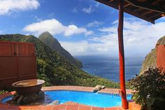 St Lucia Suites | Accommodations St Lucia | Ladera Rainbow Suite with plunge pool - non heated (1000 sq. ft)  The perfect open air suite, set high up in the rainforest with spacious sitting area and bedroom, complete with awe inspiring views of the Pitons and Caribbean Sea.