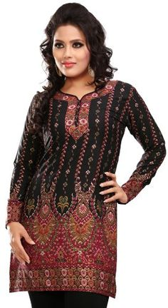 9a826374524df Amazon.com  Indian Tunic Top Womens Kurti Printed Blouse India Clothing   Clothing