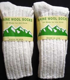 2 Pair Natural Large Maine Ragg Socks 95% Merino Wool Men 9-12.5 Warm Comfy USA